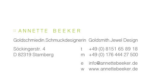 Print Design | Visitenkarte | Annette Beeker, München | Konzeption, Design und Druckabwicklung