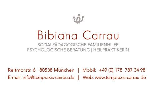 Print Design | Visitenkarte | Bibiana Carrau, München | Konzeption, Design und Druckabwicklung