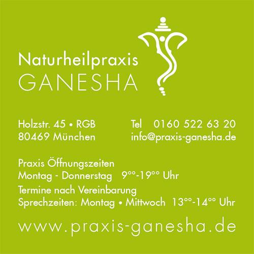 Print Design | Visitenkarte | Naturheilpraxis Ganesha, München | Konzeption, Design und Druckabwicklung
