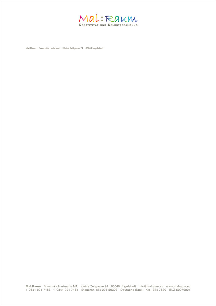 Print Design | Briefpapier | Digitale Vorlage | Mal:Raum, Ingolstadt | Konzeption und Design