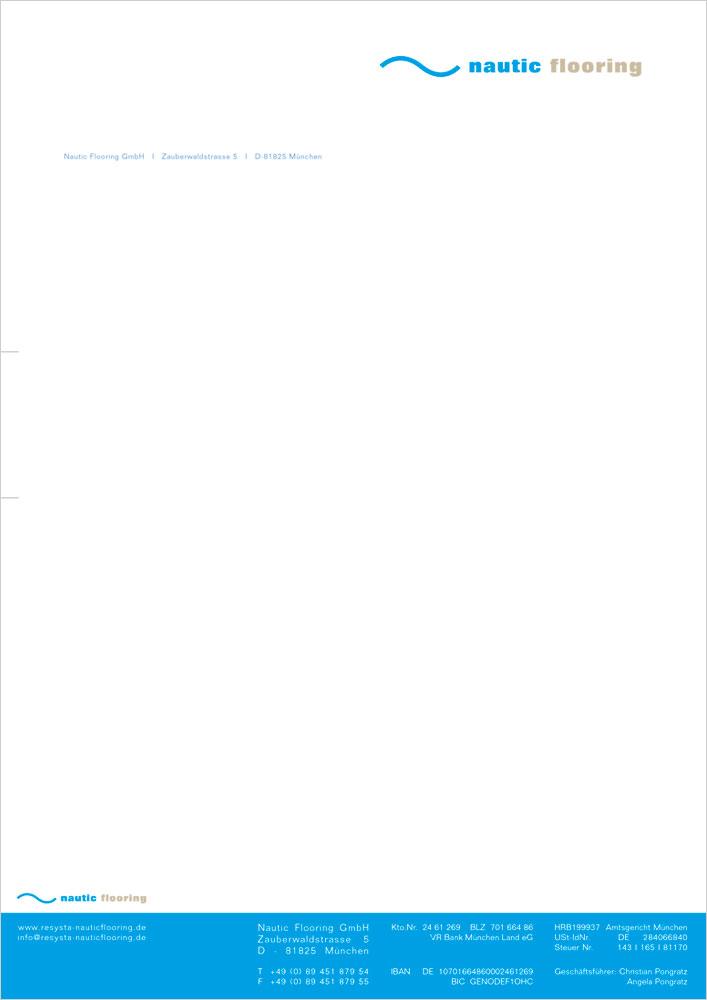 Print Design | Briefpapier | Digitaldruck | Nautic Flooring GmbH, München | Konzeption, Design und Druckabwicklung