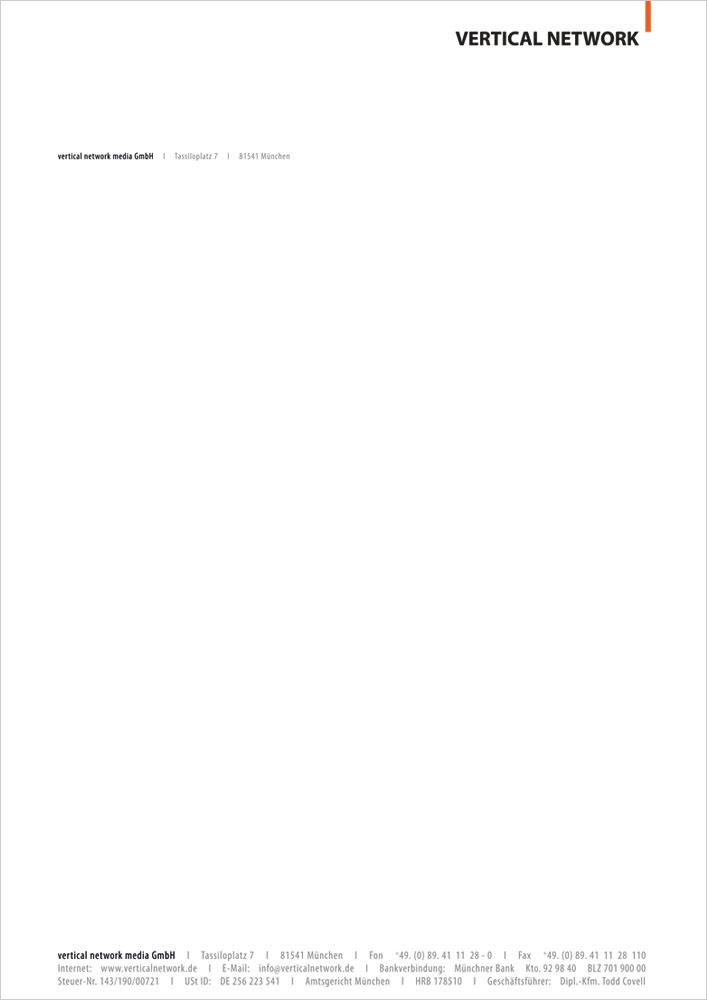 Print Design | Briefpapier | Offset-Druck | Vertical Network GmbH, München | Konzeption, Design und Druckabwicklung