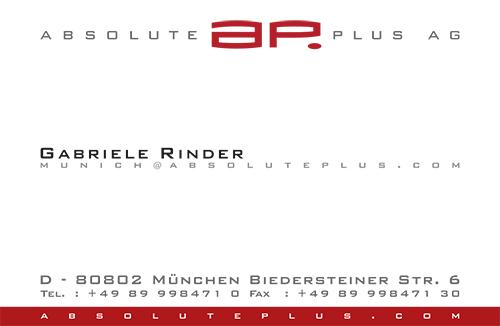 Print Design | Visitenkarte | absolute plus GmbH, München | Konzeption, Design und Druckabwicklung