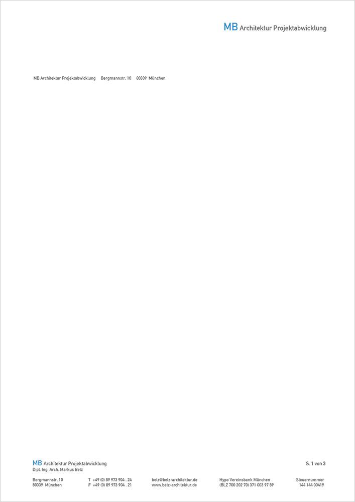 Print Design | Briefpapier | Digitale Vorlage | MB Architektur | Architekturbüro, München | Konzeption und Design