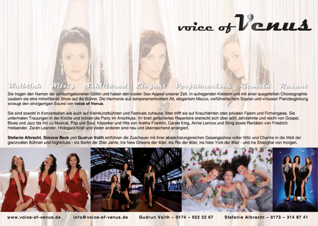 Print Design | Portfolio | Label 'voice of venus' | Design und Druckabwicklung