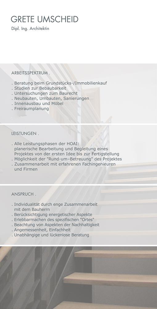Print Design | Flyer | Grete Umscheid | Architekturbüro, München | Design und Druckabwicklung