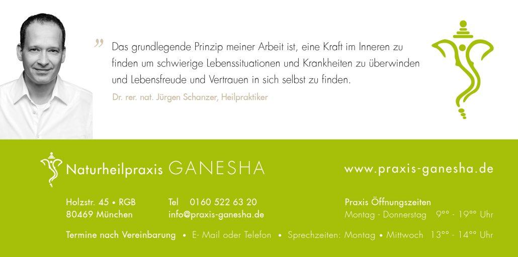 Print Design | Flyer | Naturheilpraxis Ganesha, München | Konzeption, Design und Druckabwicklung