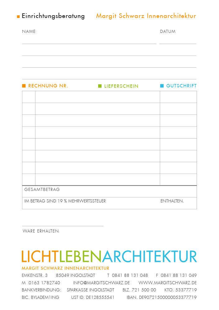 Print Design | Rechnungsblock | Margit Schwarz Innenarchitektur, Ingolstadt | Design und Druckabwicklung