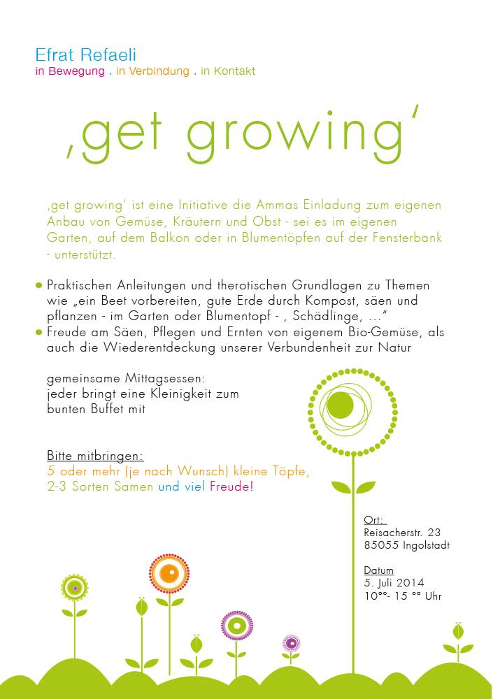 Print Design | Flyer | Seminar 'get growing' | Efrat Refaeli, München | Design und Druckabwicklung