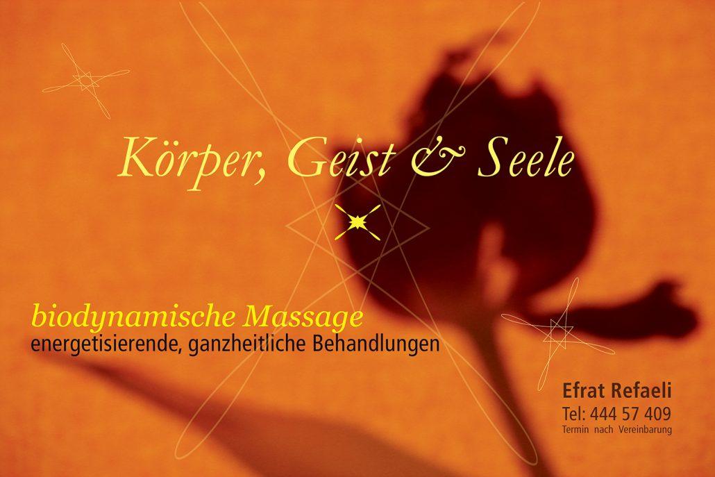 Print Design | Flyer | Biodynamische Massage, München | Design und Druckabwicklung