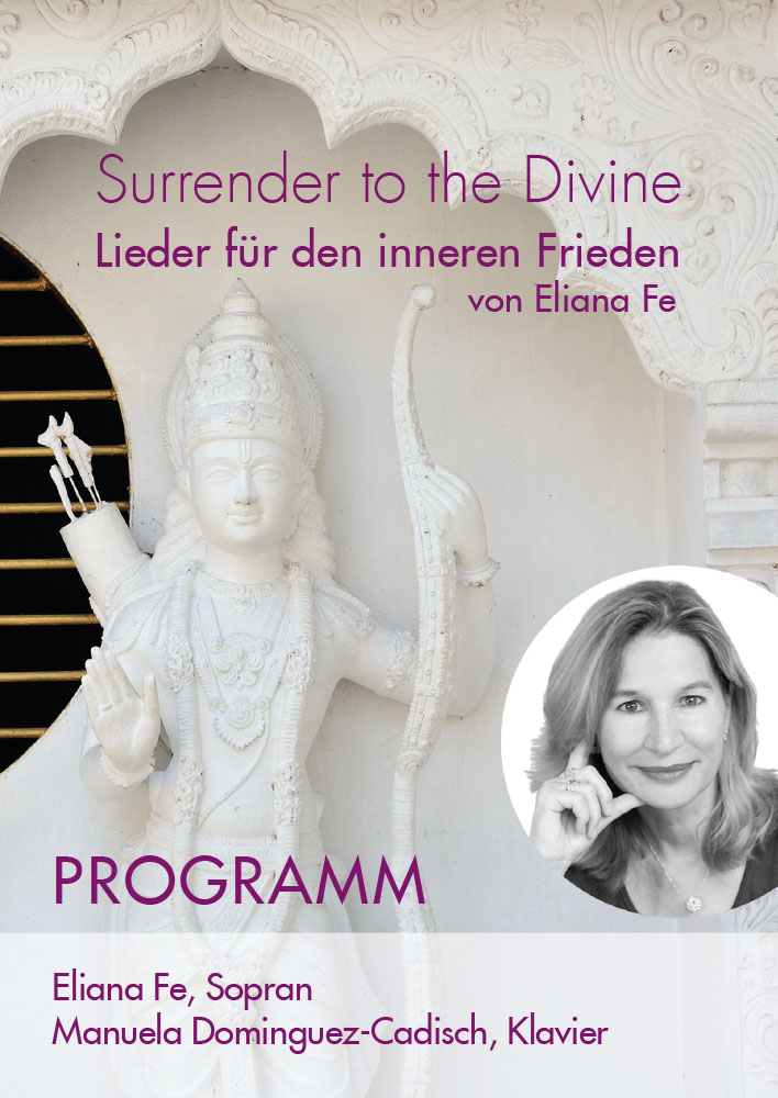 Print Design | Falzflyer | Konzertprogramm 'Surrender to the Divine' | Eliana Fe, München | Design und Druckabwicklung