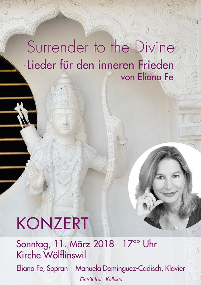 Print Design | Plakat | Konzert 'Surrender to the Divine' | Eliana Fe, München | Design und Druckabwicklung