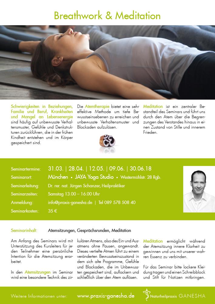 Print Design | Plakat Seminar 'Breathwork and Meditation' | Naturheilpraxis Ganesha, München | Konzeption, Design und Druckabwicklung