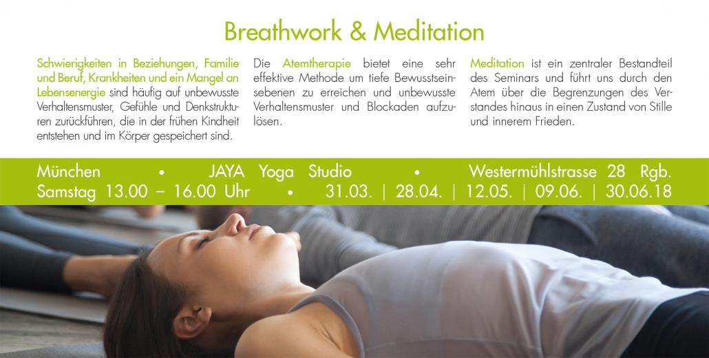 Print Design | Flyer Seminar 'Breathwork and Meditation' | Naturheilpraxis Ganesha, München | Konzeption, Design und Druckabwicklung