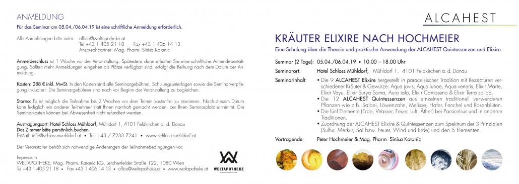 Print Design | Falzflyer | Seminar | Alcahest GmbH, München | Konzeption, Design und Druckabwicklung