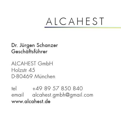 Print Design | Visitenkarte | Alcahest GmbH, München | Konzeption, Design und Druckabwicklung