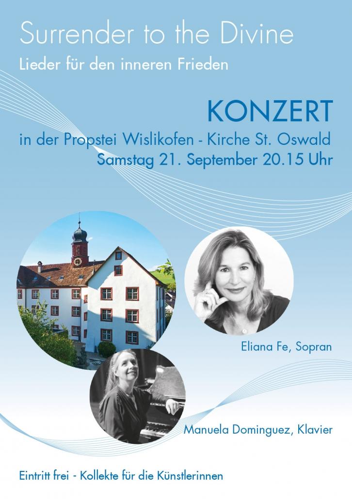 Print Design | Flyer | Konzert 'Surrender to the Divine' | Eliana Fe, München | Design und Druckabwicklung
