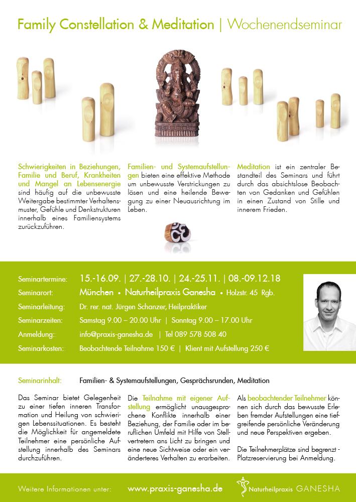 Print Design | Plakat | Seminar 'Family Constellation' | Naturheilpraxis Ganesha, München| Design und Druckabwicklung