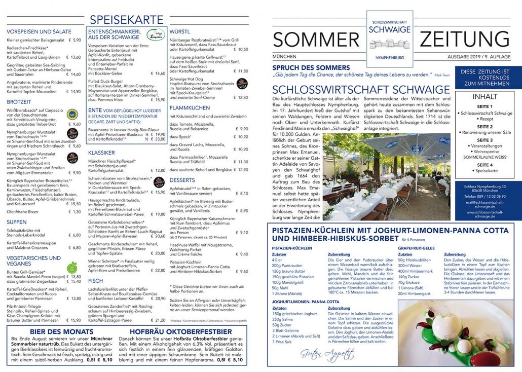 Print Design | Zeitung | Schlosswirtschaft Schwaige, München | Design und Druckabwicklung